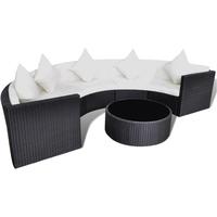Rattan tuinset half rond bankset en tafel loungeset (zwart)