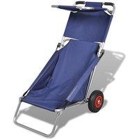 Draagbare 3-in-1 strandstoel met zonnedak-beach trolley-strandtafel