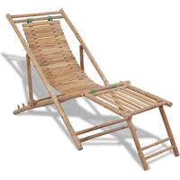 Bamboe ligstoel met voetensteun
