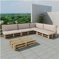 Houten pallet lounge set voor buiten met 15 delen + 9 kussens (zand-wit)