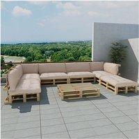 Houten pallet lounge set voor buiten met 21 delen + 9 kussens (zand-wit)