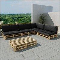 vidaXL Houten pallet loungeset voor buiten met 15 delen + 9 kussens (grijs)