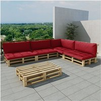 vidaXL Houten pallet loungeset voor buiten met 15 delen + 9 kussens (wijnrood)