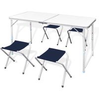 Campingtafel inklapbaar en verstelbaar in hoogte aluminium 120 x 60 cm incl. vier stoelen