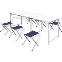 Campingtafel inklapbaar en verstelbaar in hoogte aluminium 180 x 60 cm incl. zes stoelen