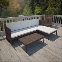 Lounge set voor buiten met een 3-zits bank (bruin)