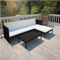 Lounge set voor buiten met een 3-zits bank (zwart)