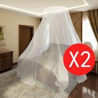 Dubbele klamboe muggennet voor bed rond 1020 x 230 x 56 cm (set van 2)