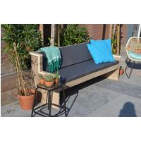 Wood4You tuinbank Zeeland bouwpakket steigerhout met kussens 188cm