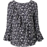 Rose Print Ruffle Front Blouse