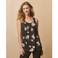 Black Foil Print Sleeveless Vest Top
