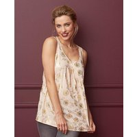 Floral Foil Print Sleeveless Vest Top