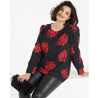 Rose Print Puff Sleeve Printed Blouse