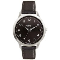 Gents Silver Tone Watch With Black Strap