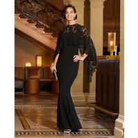 Joanna Hope Lace Cape Maxi Dress