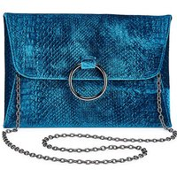 Sophie Teal Ring Detail Clutch Bag