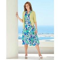 Print Linen Mix Dress with Belt