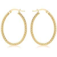 9Ct Gold Pattern Hoop Earring