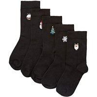 5 Pack Embroidered Black Ankle Socks