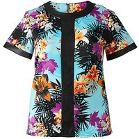 Grazia Hawaiian Print PU Trim Top