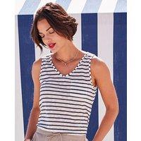 Blue Stripe Linen Mix Vest