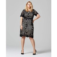 Lovedrobe Crochet Contrast Midi Dress