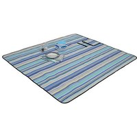 Blue Striped Picnic Rug.