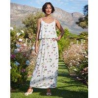 Ivory Floral Print Layer Maxi Dress