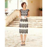 Joanna Hope Eyelash Lace Trim Dress