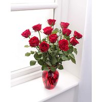 12 Red Rose Bouquet and Glass Vase