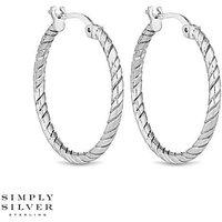 Simply Silver rope twist hoop earring