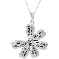 Silver He Loves Me Not Flower Pendant