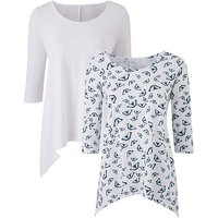 White/Butterfly Pack of 2 Hanky Hem Tops