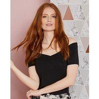 Black Short Sleeve V Neck Bardot Top