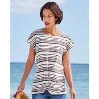 Navy/White Stripe Twist Hem Jersey Top