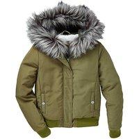 KD Girls Faux Fur Hooded Bomber Coat