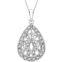 9Ct Gold & Diamond Teardrop Necklace
