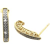 Gold Plated Silver Diamond Mum Earrings
