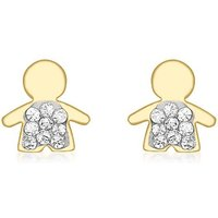9Ct Gold Pave Boy Earrings