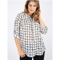 Lovedrobe GB white grid print shirt