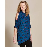 Butterfly Print Cold Shoulder Blouse