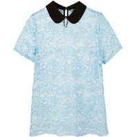 Blue Contrast Collar Lace Top
