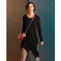 Black Ruched Sleeve Asymmetric Tunic