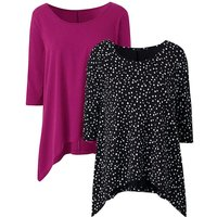 Magenta/ Spot Pack Of 2 Hanky Hem Tops
