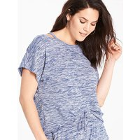 Blue Space Dye Cut Out Neck T-shirt
