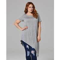Grey Short Sleeve Asymmetric T-shirt
