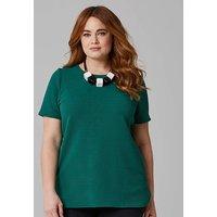 Dark Green Textured Jersey Shell Top