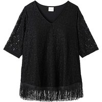 Junarose Fringe Trim Lace Top