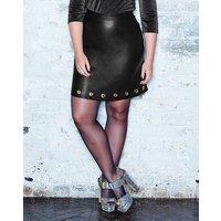 Simply Be Eyelet Detail PU Mini Skirt
