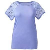 Heart Sleeve Jersey Top with Mesh Sleeve